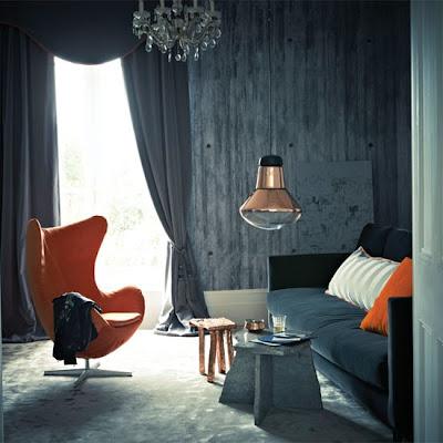 diseño de sala color gris