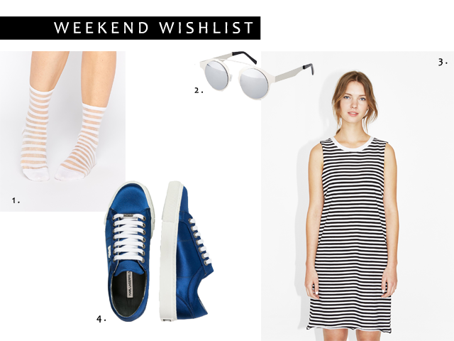 Wish list, shopping, fashion blogger, lurex socks, transparent, monki, karl lagerfeld, sneakers, chanel inspired sunglasses, striped, spitfire, sunglasses, striped dress