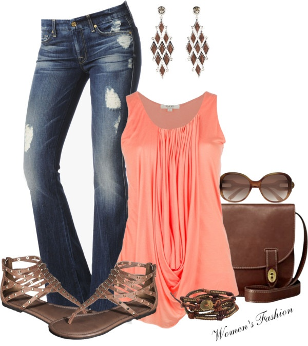 Orange blouse, ripped jeans, ear tops, sunglasses and light sandals