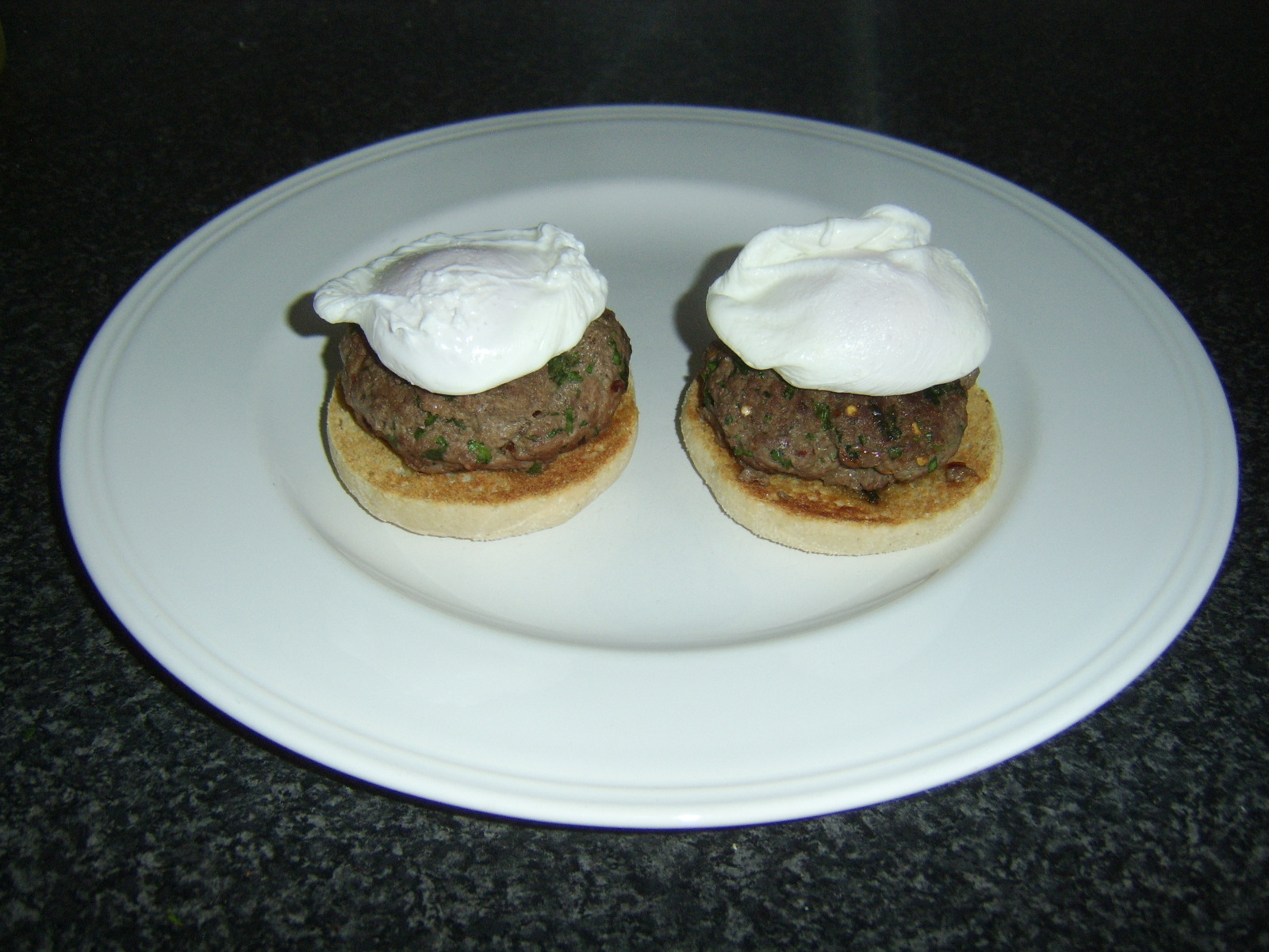 Spicy Burger and Poached Egg Muffins