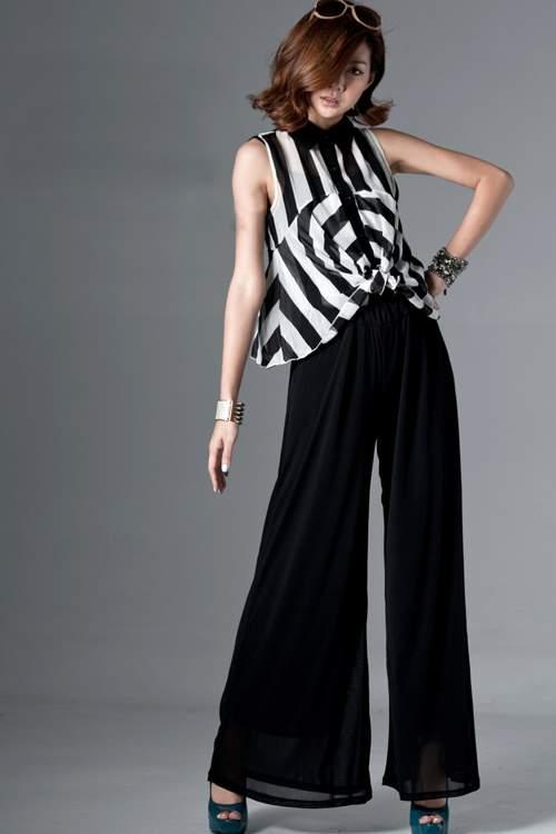 с какими блузками надевают широкие чёрные шифоновые брюки
