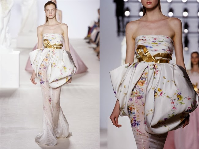 Giambattista Valli Couture Fall 2013 White Floral Gown