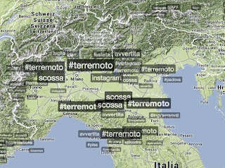 Reaction on twitter hashtag #terremoto