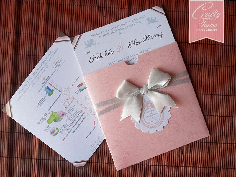 Peach and Grey Peonies Themed Pocket Wedding Card with Ribbon