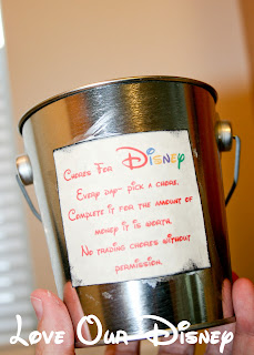 Make a chore bucket with extra chores for kids to earn money for Disney. LovOurDisney.com