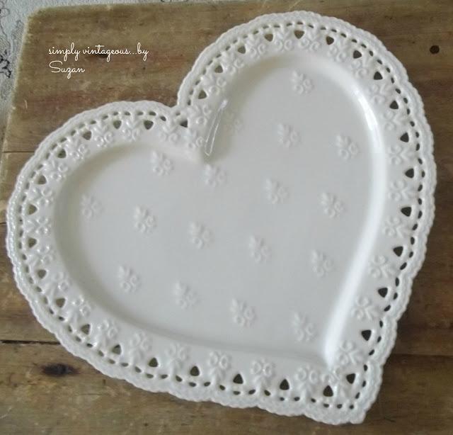 white, heart, serving, platter, plate
