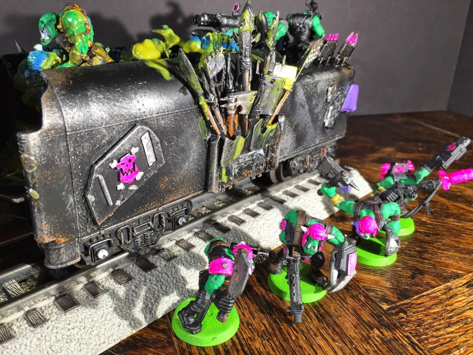 Ork Steam Train; Ork Tender; Pink Orks; Battle Gaming One