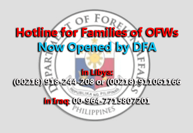 Hotline for Families of OFWs in Libya and Iraq Now Opened by DFA