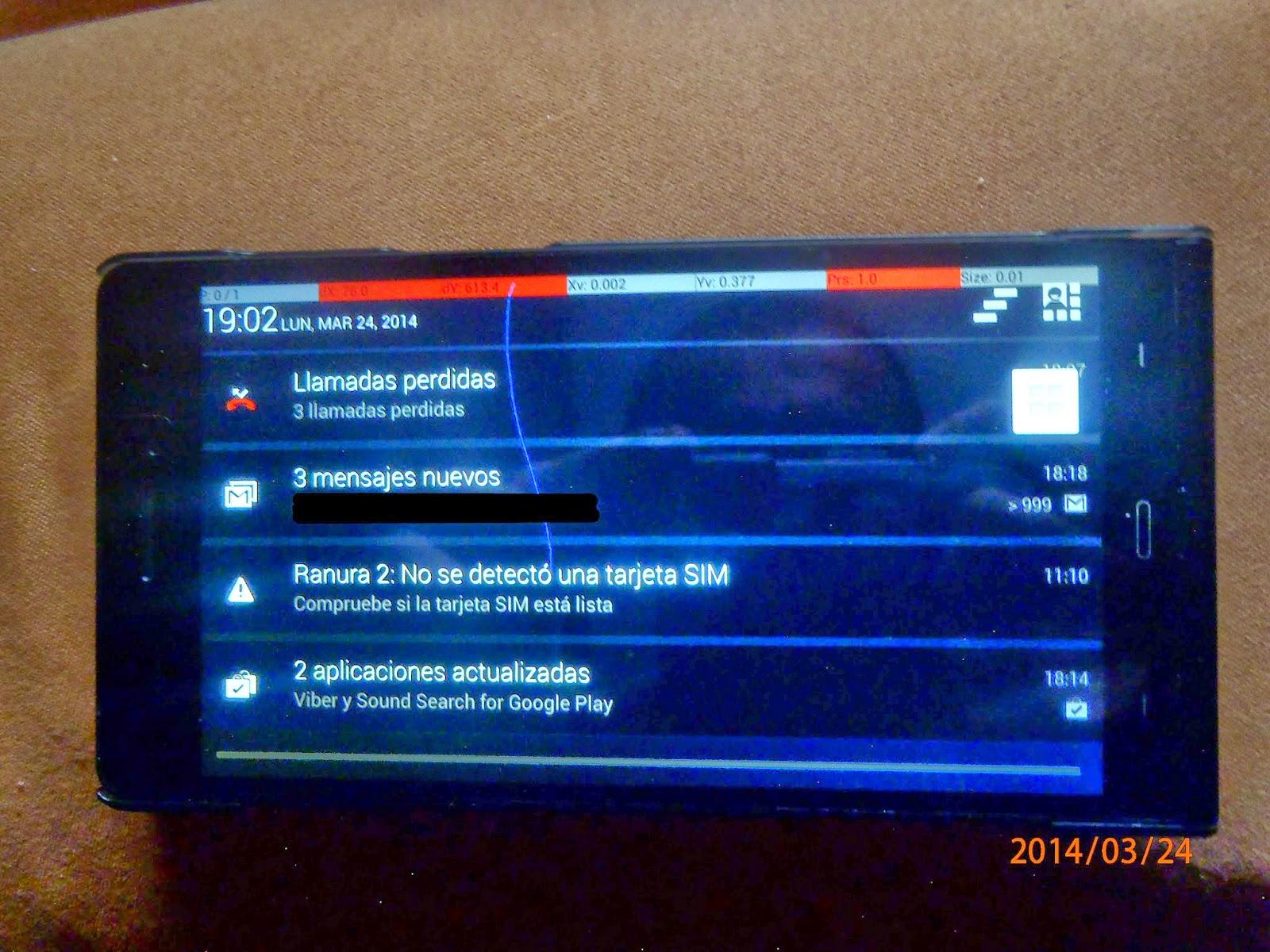 Coordenadas extrañas en la pantalla del móvil.