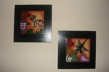 Lineas de Nazca.---Mono y Colibrí--25 x 25 cm