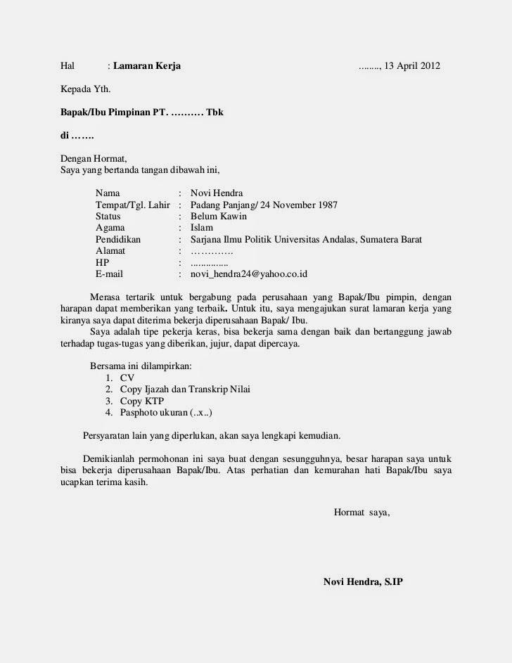 Contoh Surat Lamaran Kerja Indomaret Tulis Tangan Contoh