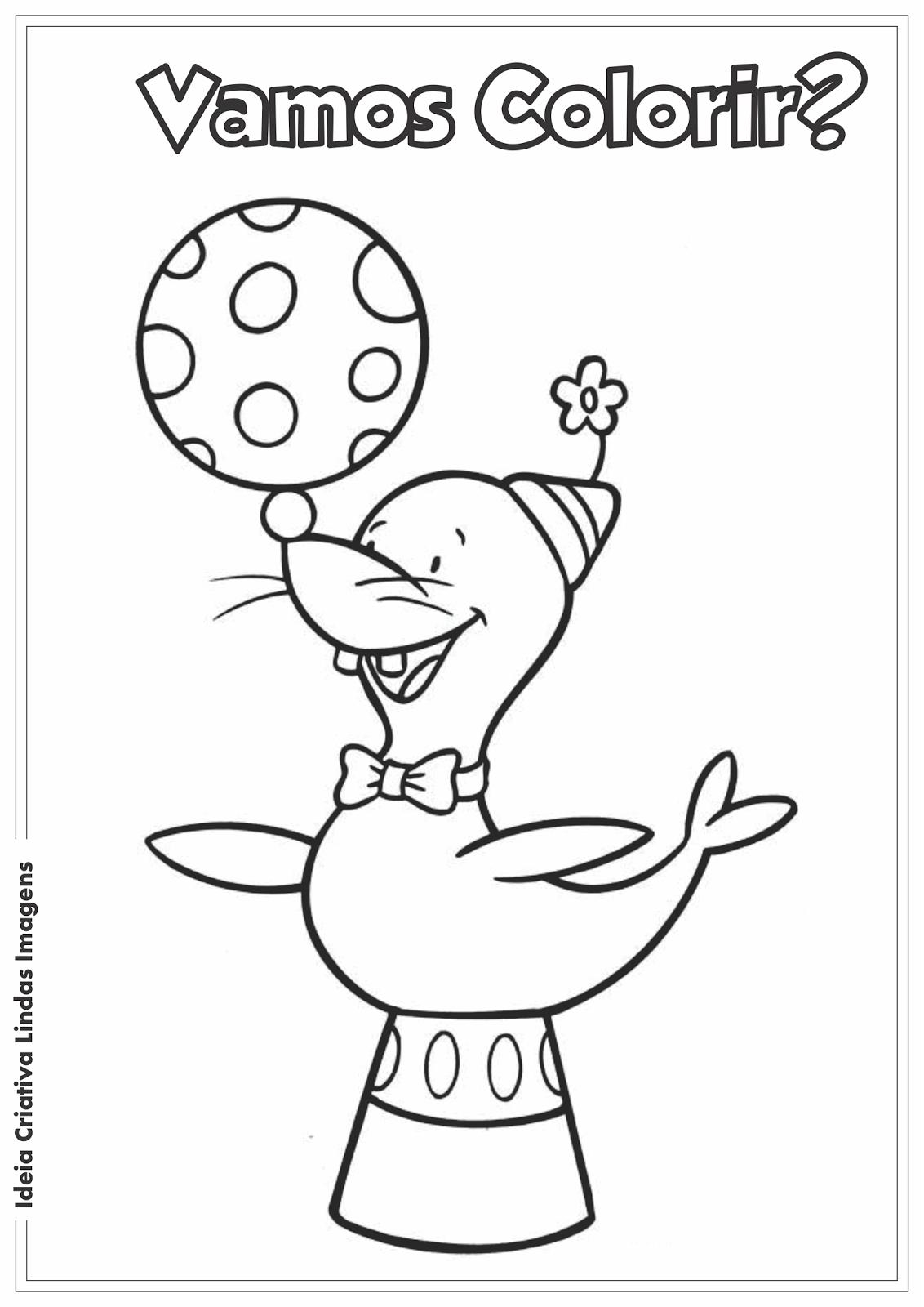 Dia do Circo - Foca desenho para colorir