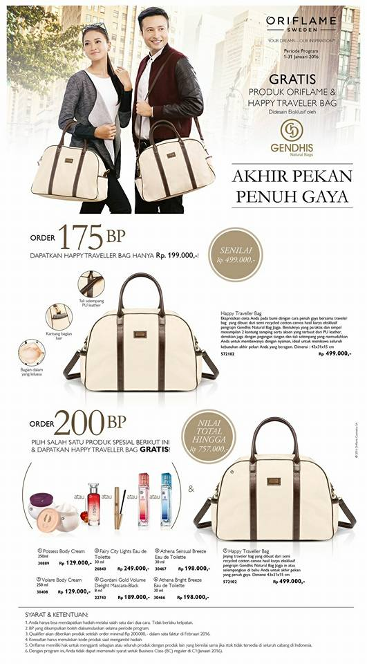 Promo Tas Gendhis GRATIS Januari 2016 - Business Class 200BP Oriflame