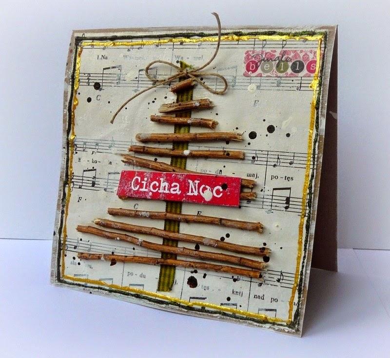 kartka świąteczna z choinką vintage