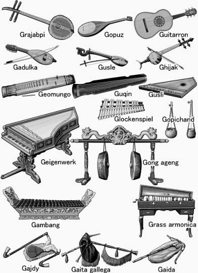 Musical instruments / grayscale illustration (G..)