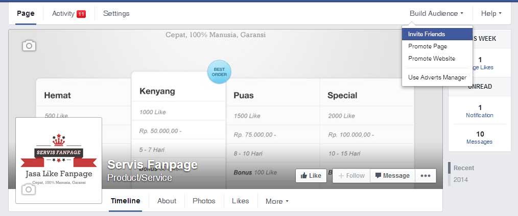 Cara Menambah Like Fanpage Facebook dengan Undang Teman