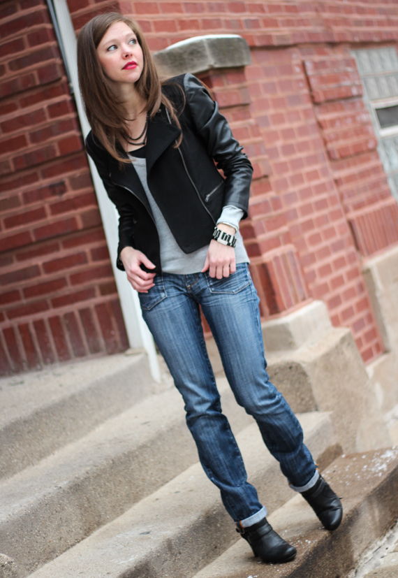 Leather Sleeve Blazer &amp; Jeans | StyleSidebar
