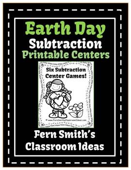 Earth Day - Subtraction Printable Center Games For 1.OA.6 and 2.OA.2