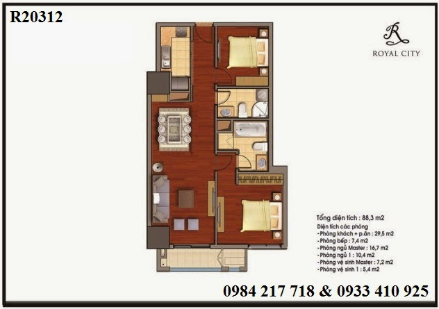 Mua bán căn hộ chung cư Royal City, căn hộ 2 phòng ngủ diện tích 88.3 m2 giá bán rẻ nhất dự án Royal City