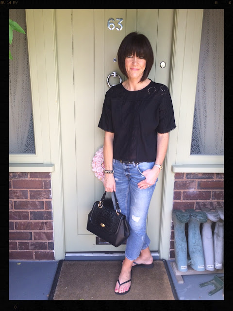 My Midlife Fashion, Zara, New Look, Ghost, La Redoute, Havaianas, slip flip flops, broderie anglais, distressed denim, cigarette trousers,