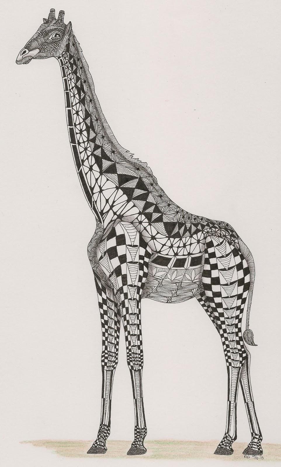Zentangle Giraffe Giraffe. template van ben kwok