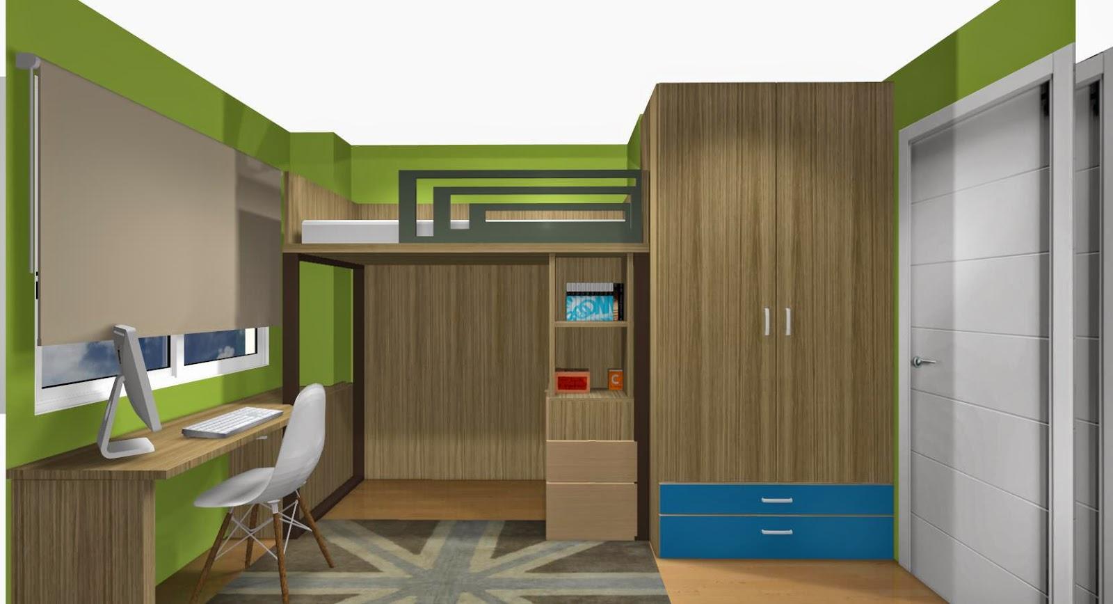dormitorio juvenil con cama alta combinado en nogal sepia