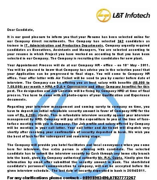 ITJOBMISSION Fake Offer Letter From Lamp T