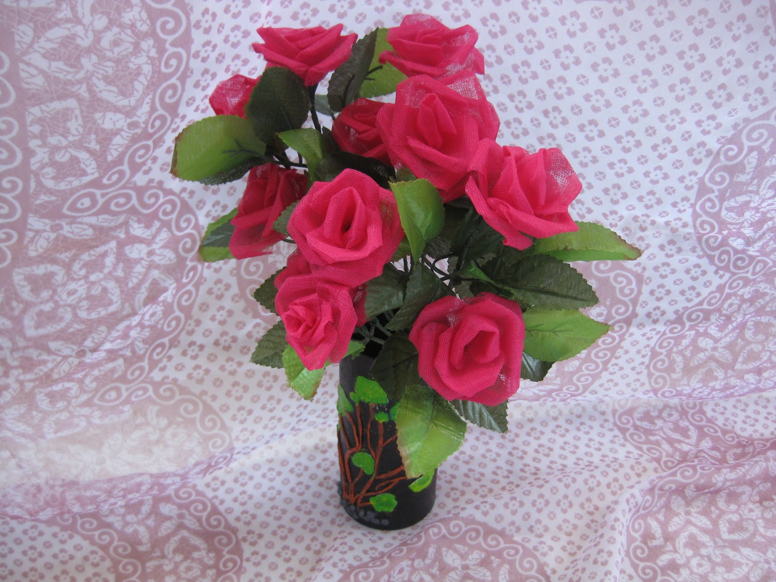 Himajas Crafts Organdy Cloth Flower Vase
