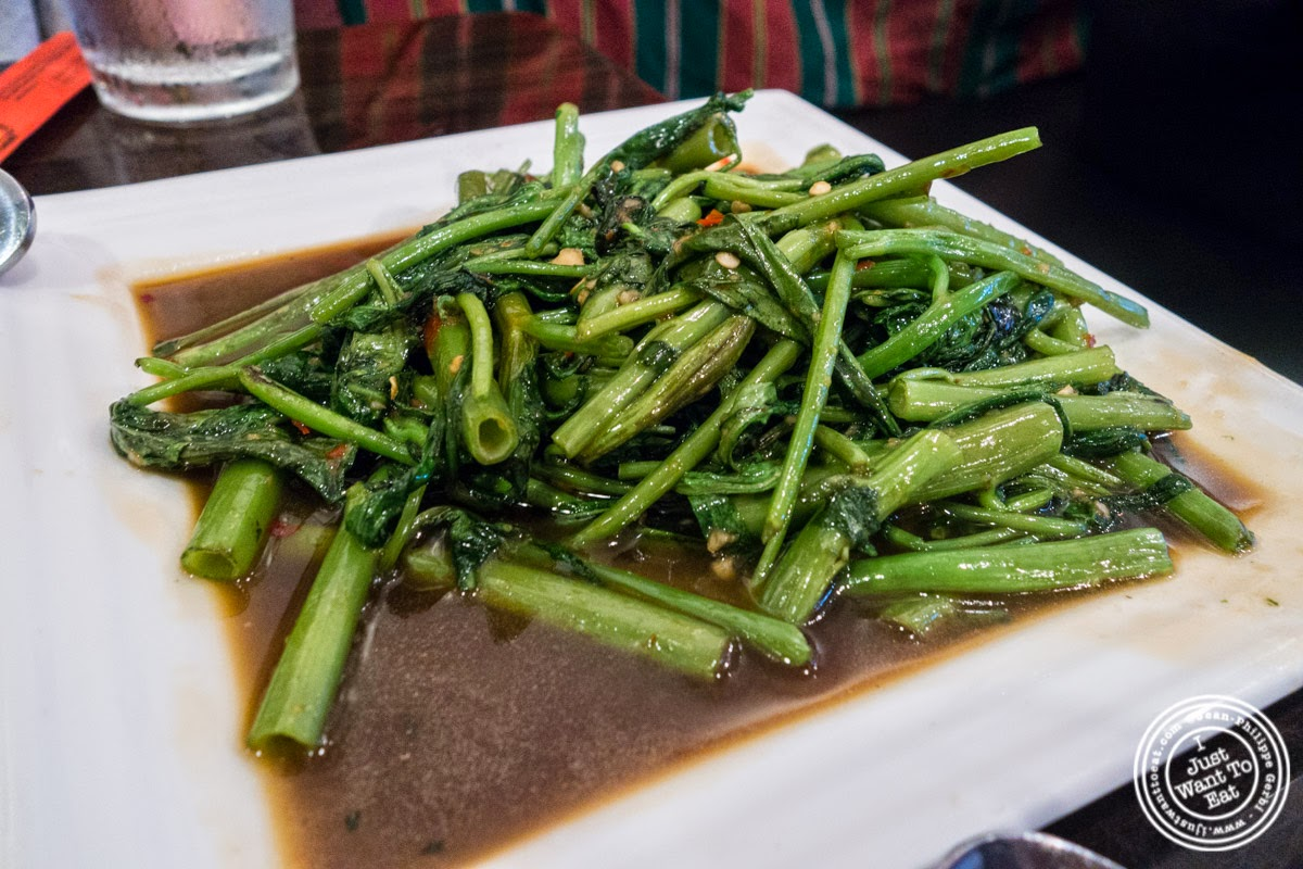 image of Pukk Boong Fai Dang at Larb Ubol, Thai restaurant in Hell's Kitchen, NYC, New York