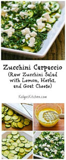 Zucchini Carpaccio or Raw Zucchini Salad  with Lemon, Herbs, and Goat Cheese [from KalynsKitchen.com]