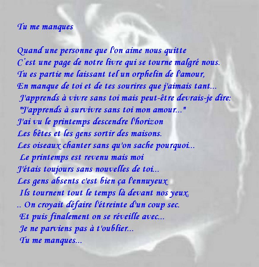 Sehr Message d'Amour et d'Amitié: Carte et texte amour triste: Tu me  OO18