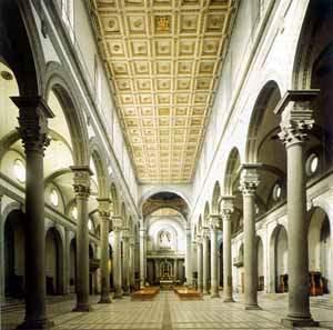 Florencia puro renacimiento renacimiento en florencia for Interior iglesia san lorenzo brunelleschi