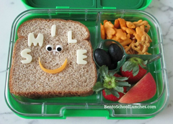 Smile lunch, Quick and Easy Sandwich With Cheese Lettering