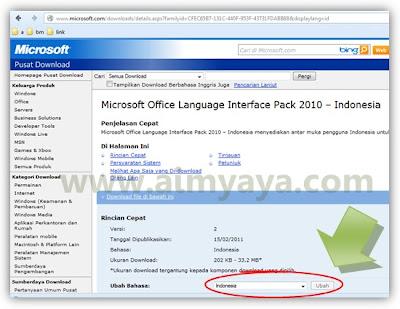 Gambar: Office language dari situs resmi microsoft