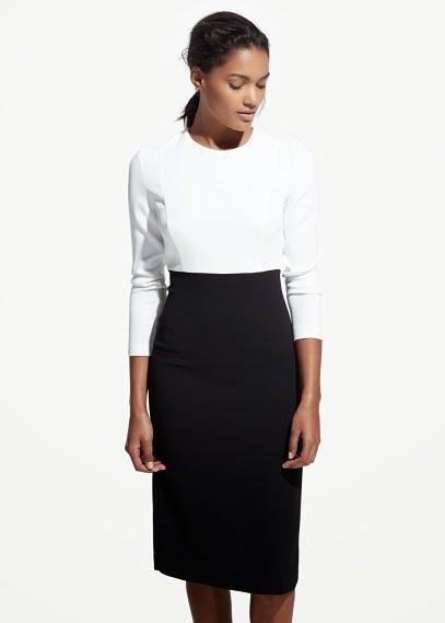 Mango 2015 Elbise Modelleri  blok renk siyah beyaz elbise, ofis için uygun elbise