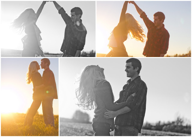 images of couple twirling in a field