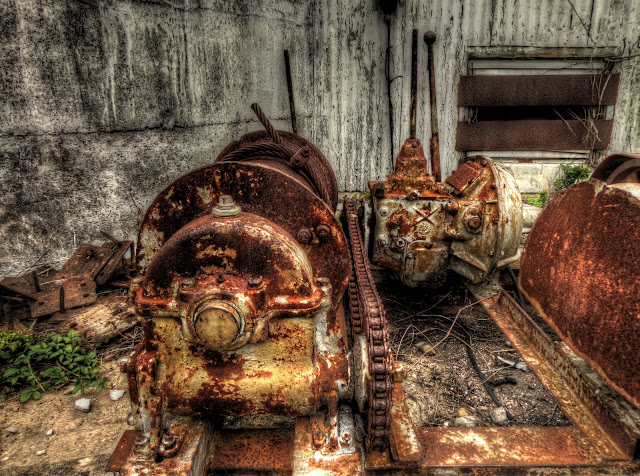 Rusted machinery at No Label Brewery in Katy, Texas - HDR