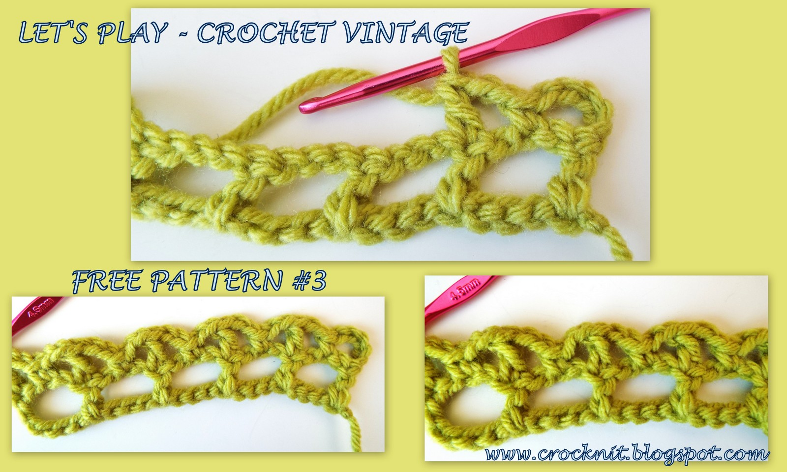 Crochet Stitch Rtrf : Row 3: Ch6 (counts as 1dc, ch3) *1dc in next dc, ch3, rep from * to ...