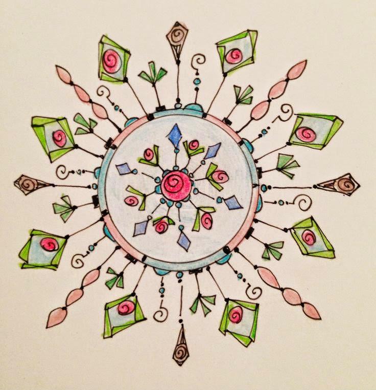 Floral themed circular dangle