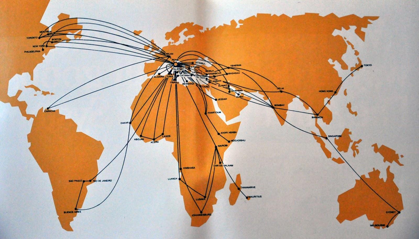 The Timetablist: Alitalia Route Map, 1977