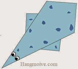 Bước 6: Vẽ mắt, vây để hoàn thành cách xếp con thằn lằn cổ rắn Plesiosaur bằng giấy origami đơn giản.