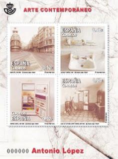 La pintura de Antonio López recorrerá el mundo gracias a la emisión de cuatro sellos sobre su obra