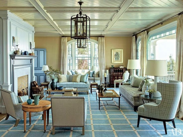 large open floor plan blue and yellow living room traditional decor