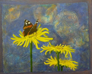 red Admiral butterfly, helianthus flower painting