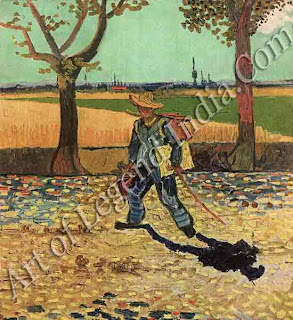 The Painter on his Way to Work 1888, Van Gogh sets out with his easel, canvas and paints to work in the blazing sunshine of southern France. He often completed a picture in a single day.