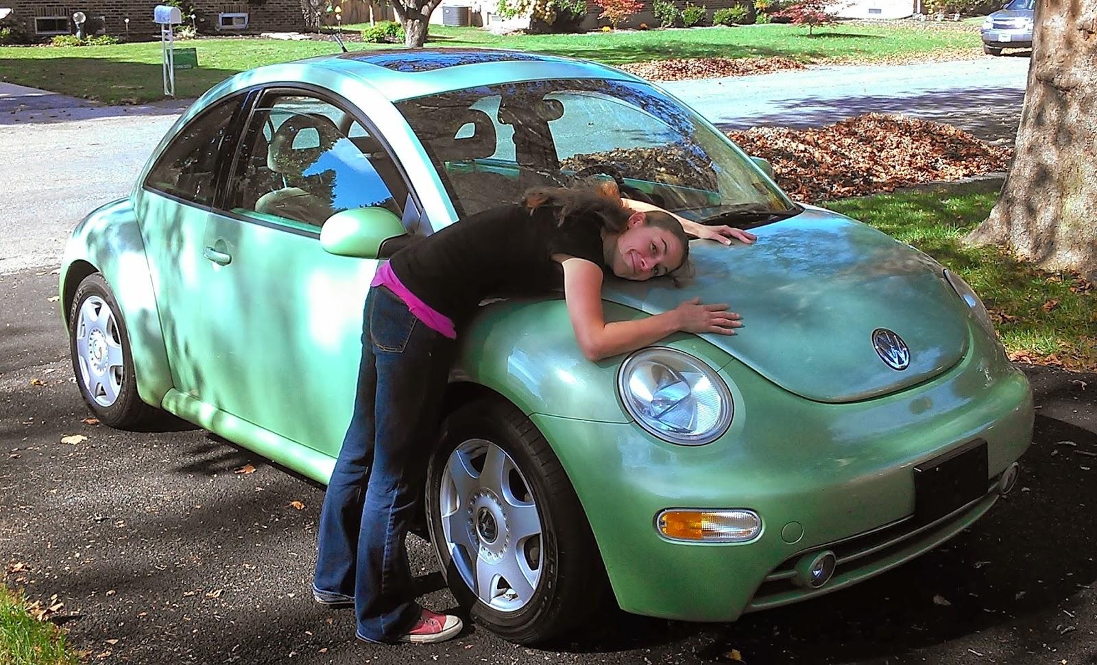 Green beetle car inside photo 4
