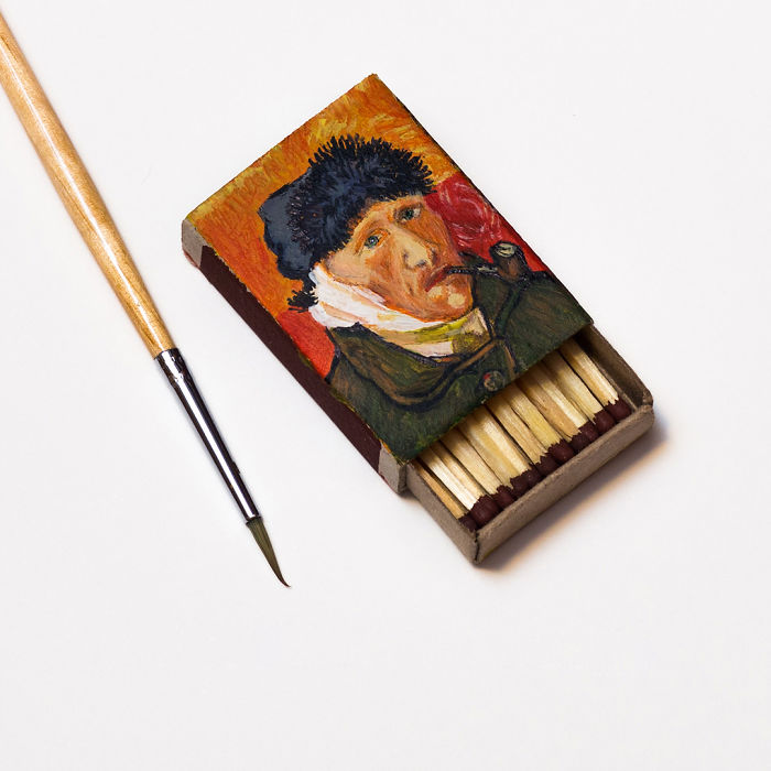 04-Self-portrait-with-bandaged-ear-and-pipe-Vincent-Van-Gogh-Salavat-Fidai-Салават-Фидаи-Miniature-Paintings-on-Matchboxes-and-Pumpkin-Seeds-www-designstack-co