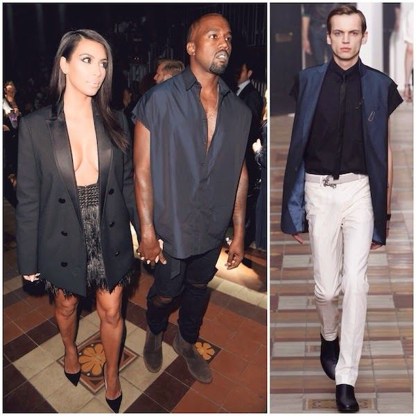 Kanye West and Kim Kardashian at Lanvin womenswear Spring Summer 2015 Paris Fashion Week