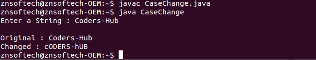 Java code to change Lowercase letters to Uppercase and vice-versa in a string