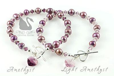 Freshwater Pearl Crystal Heart Charm Bracelets (B137, B138)